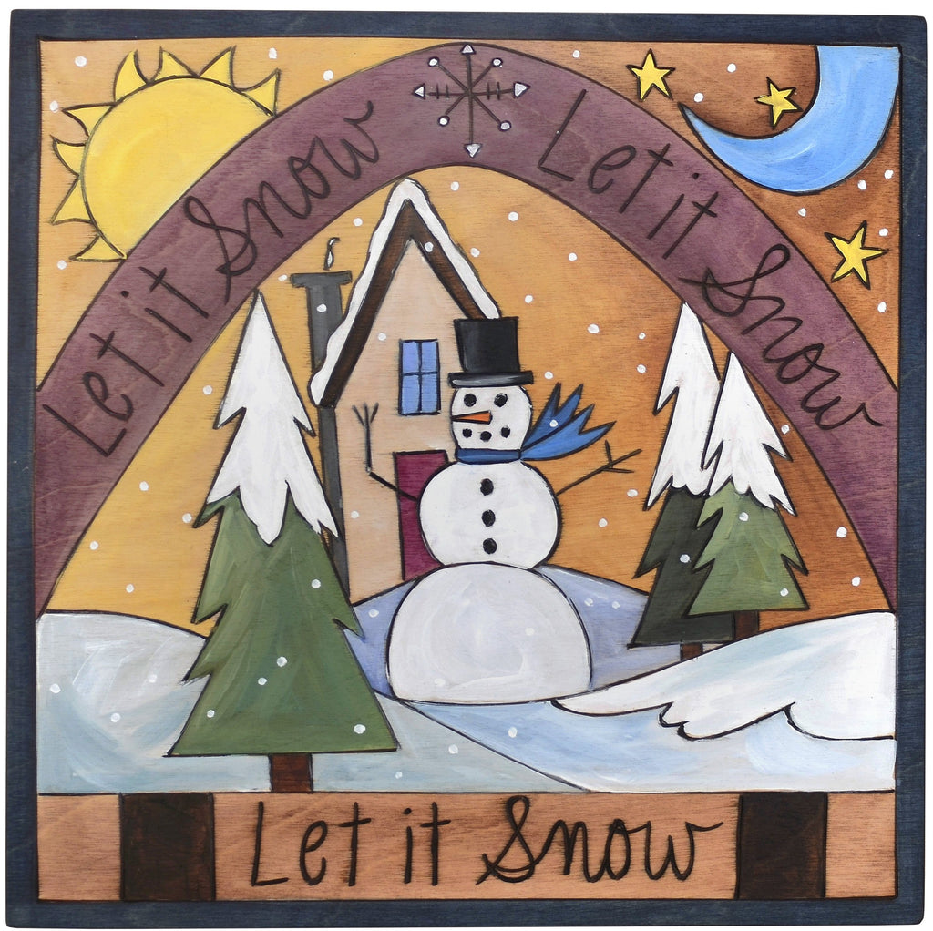 "Sticks handmade wall plaque with ""Let it Snow"" quote and snowy winter landscape imagery"