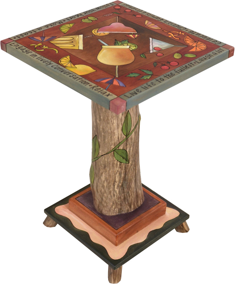 Martini End Table –  Festive and fun end table with myriad drinks and accoutrements pictured