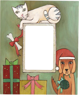 Sticks handmade picture frame with dog and cat holiday theme