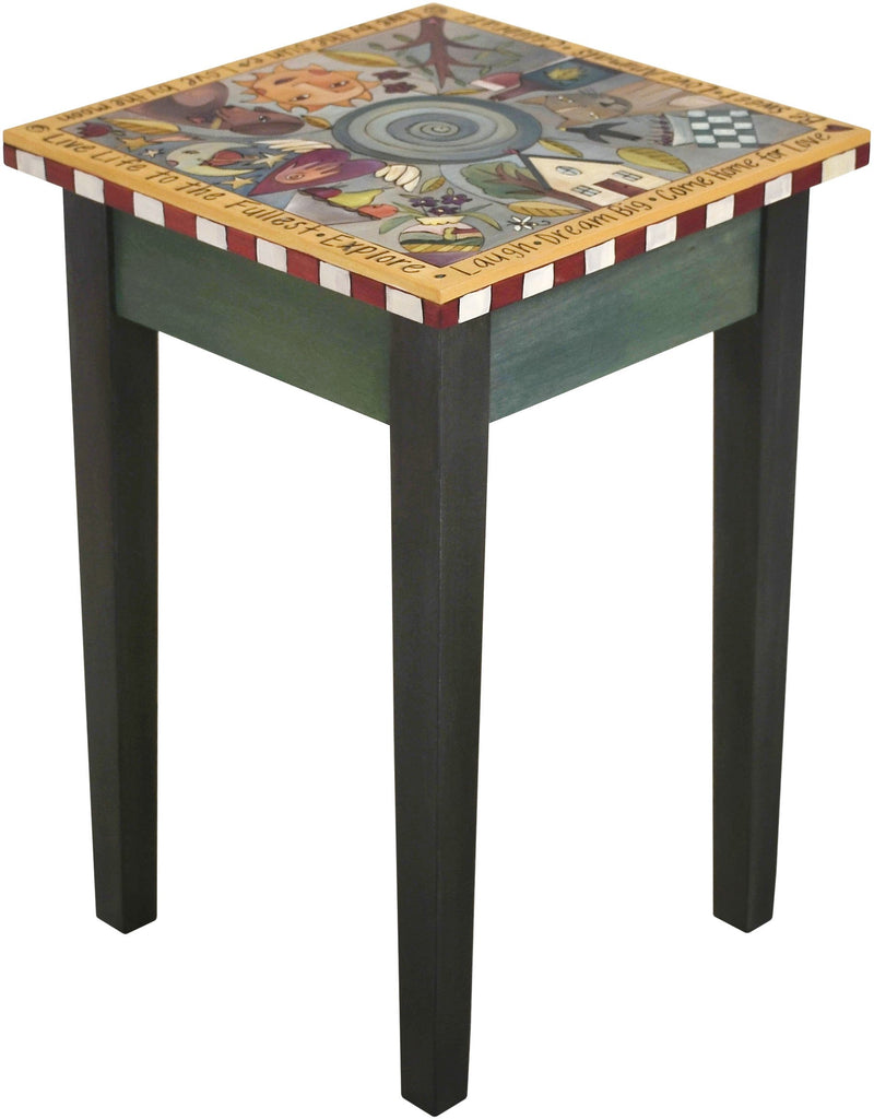 Small Square End Table –  Handsome end table with floating symbolic icons