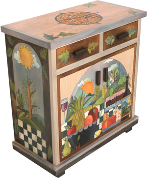Small Buffet –  Small buffet with sun and moon over the tree of life motif
