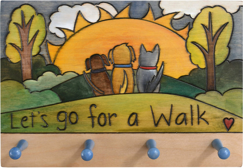 "Horizontal Key Ring Plaque –  ""Let's go for a Walk,"" sunrise landscape plaque with three dogs and four pegs for keys"