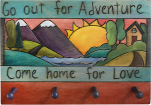 "Horizontal Key Ring Plaque –  ""Go out for Adventure, Come home for Love,"" mountain landscape key ring plaque"