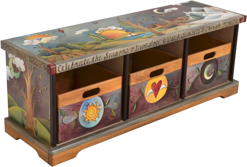Storage Bench with Boxes –  Elegant and lovely storage bench with rolling four seasons landscape and tree of life motif
