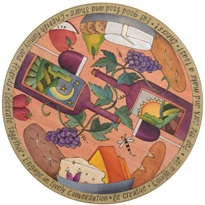 "Sticks Handmade 24""D lazy susan with beautiful wine and cheese motif"