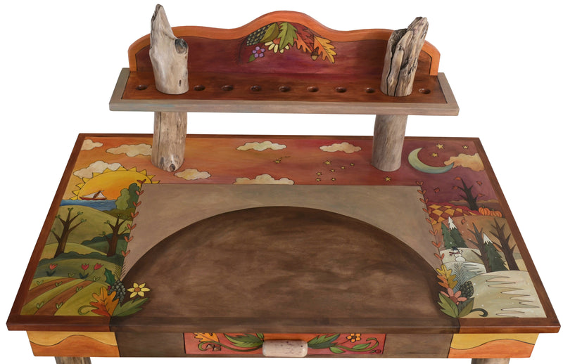 Desk with Shelf –  Gorgeous changing seasons desk with drawer and shelf