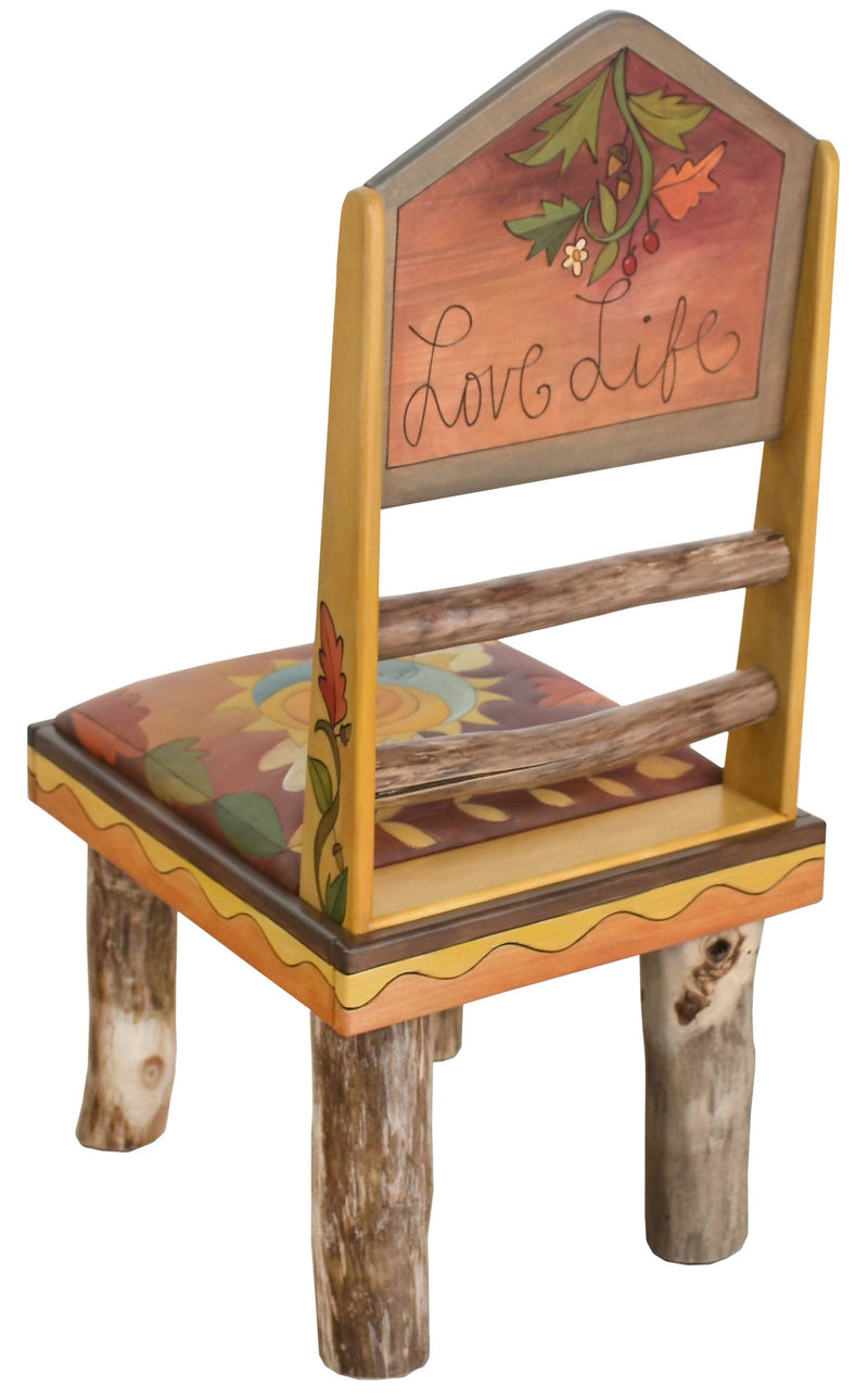 "Sticks Side Chair with Leather Seat –  Lovely colorful chair with pastel hues and rolling mountain landscapes, ""Love Life"""