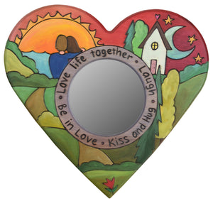 "Heart Shaped Mirror –  ""Love Life Together"" heart-shaped mirror with couple watching the sunset motif"