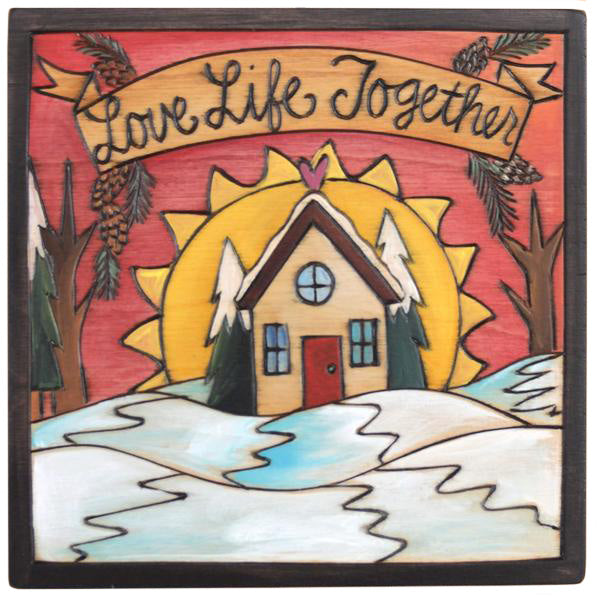 "7""x7"" Plaque –  ""Love Life Together"" plaque with sunset behind a cozy home in the snow motif"