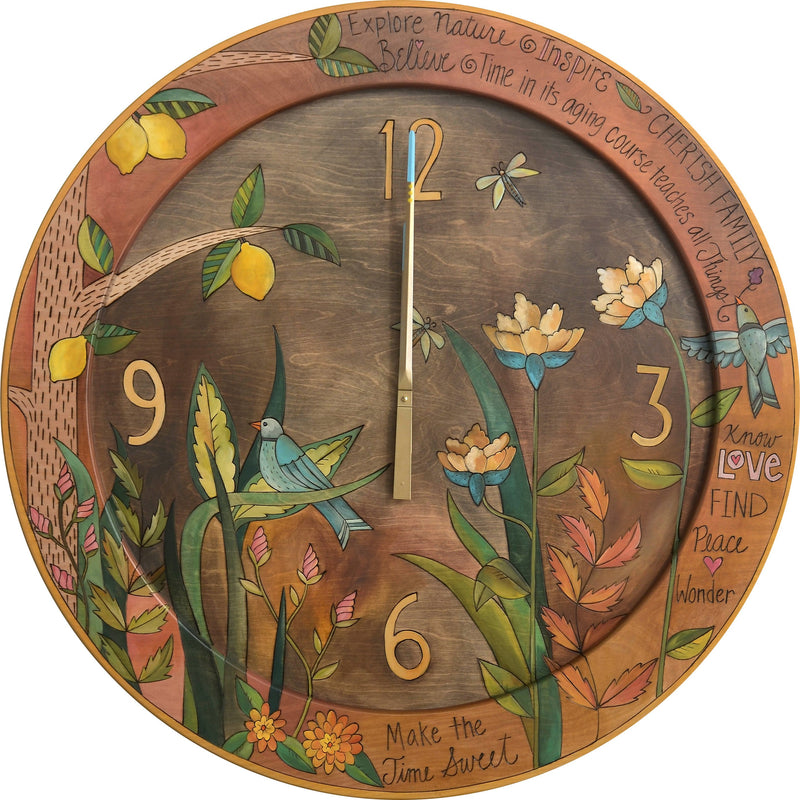 "Sticks handmade 36""D wall clock with beautiful botanical folk art design and lemon tree"