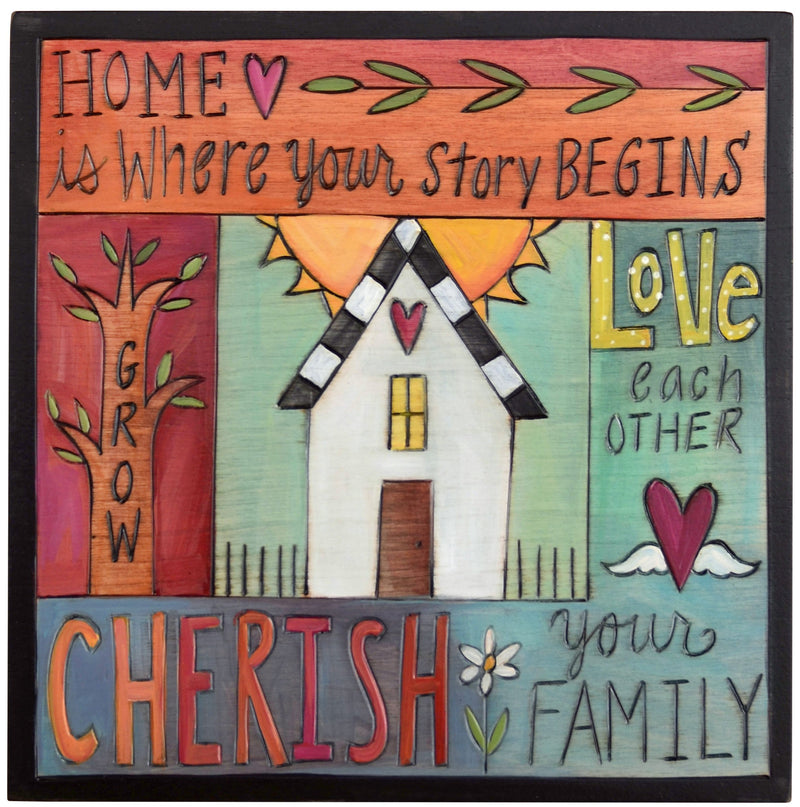 "Sticks handmade wall plaque with ""Cherish Family"" quotes and colorful imagery"