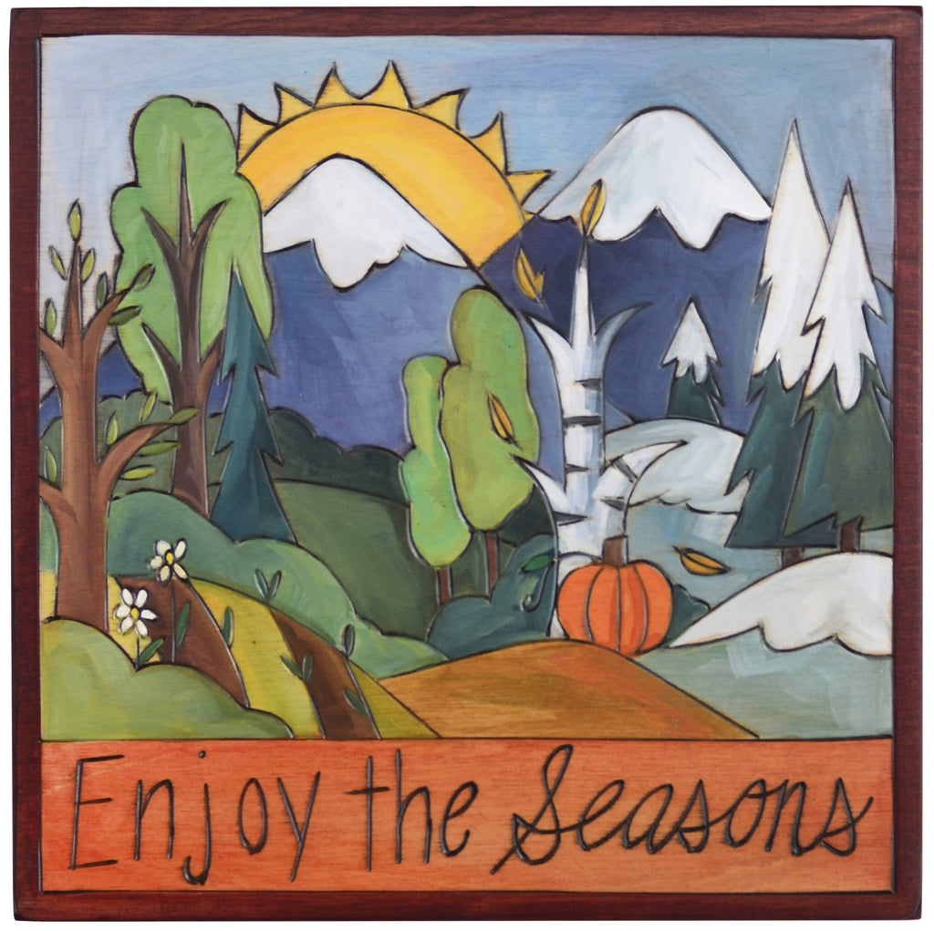 "Sticks handmade wall plaque with ""Enjoy the Seasons"" quote and four seasons mountain landscape"
