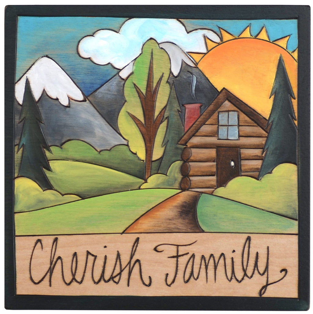 "Sticks handmade wall plaque with ""Cherish Family"" quote and cabin in the mountains imagery"