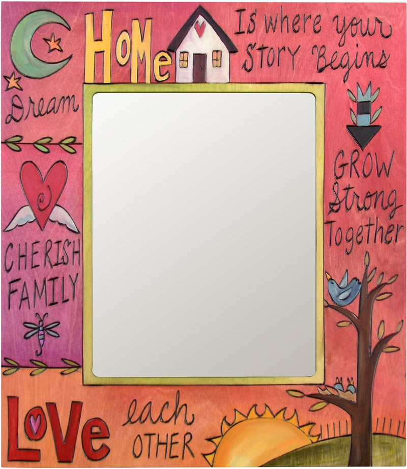 "8""x10"" Frame –  Rosy and bright picture frame featuring sun and moon motif and inspirational phrases"