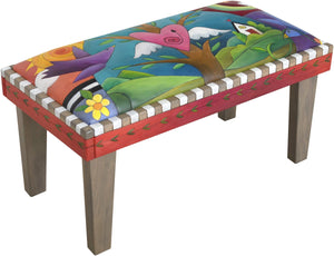 Sticks handmade 3' bench with leather and tree of life design