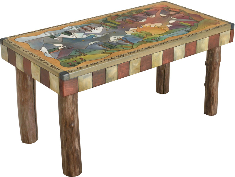 Sticks handmade 3' bench with rolling four seasons landscape