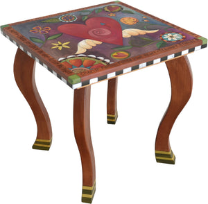 Large Square End Table –  Beautiful folk art end table with central heart with wings and floral motifs throughout