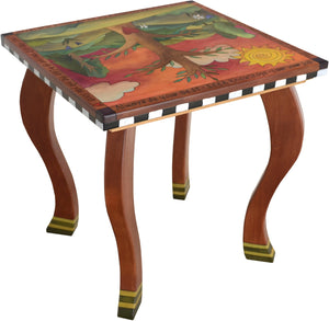 Large Square End Table –  Beautiful end table with tree of life design and rolling landscape