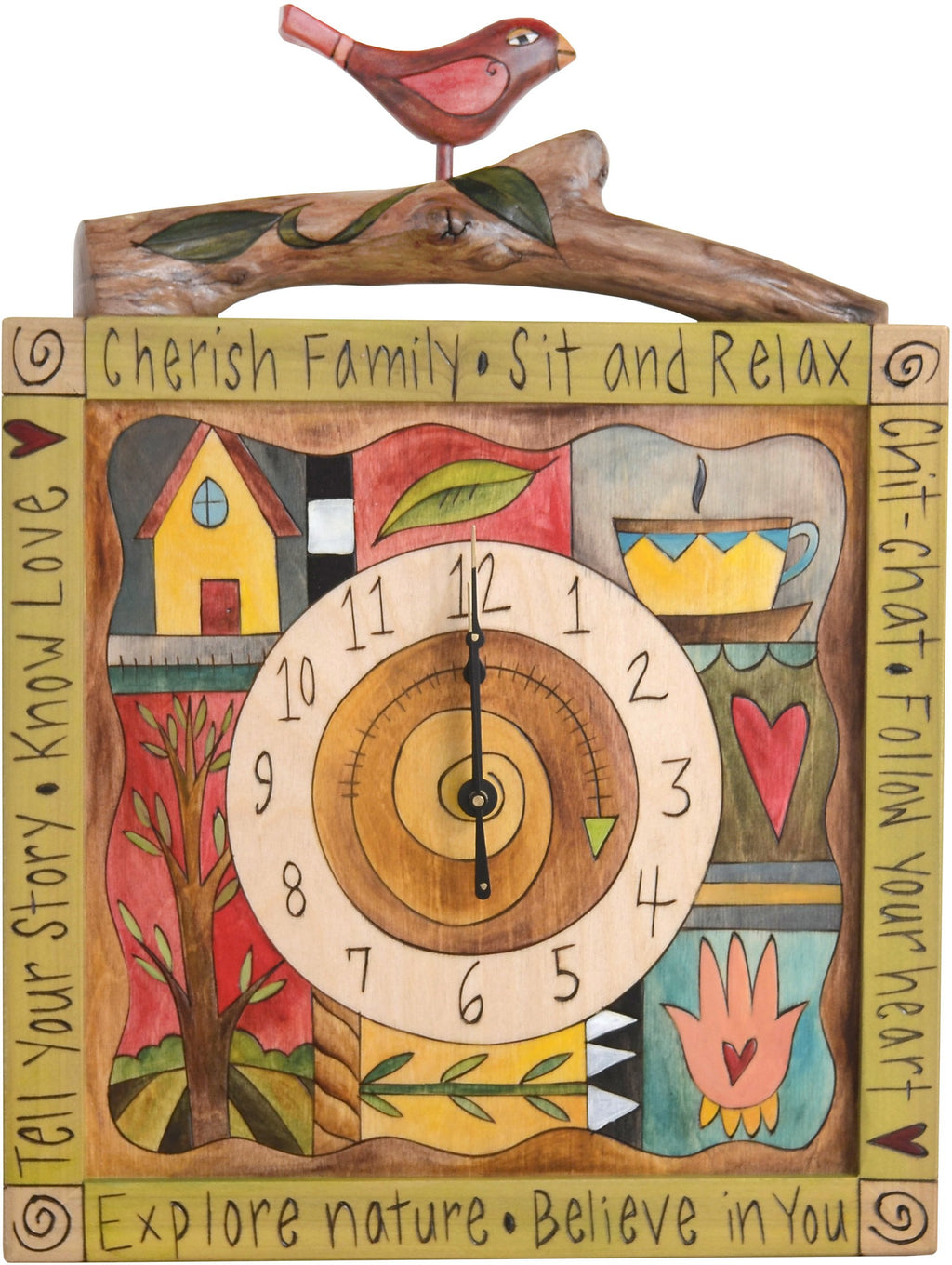 Square Wall Clock –  Eclectic folk art wall clock with colorful block icons and bird figurine