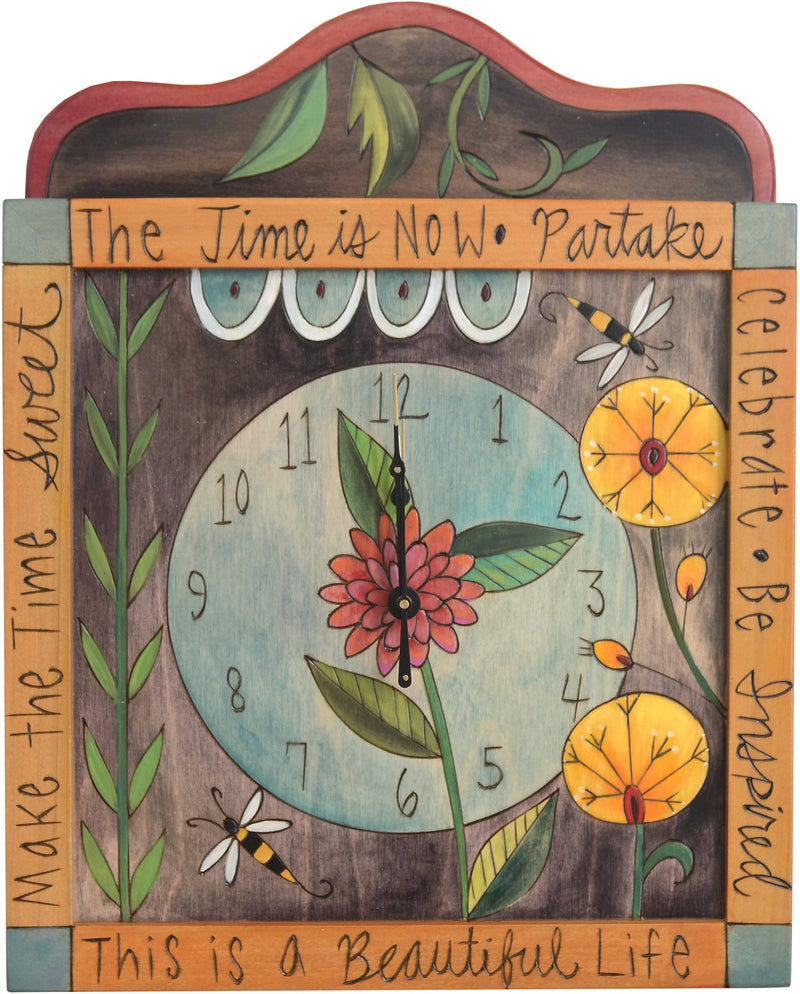 "Square Wall Clock –  ""This is a Beautiful Life"" wall clock with floral motif"