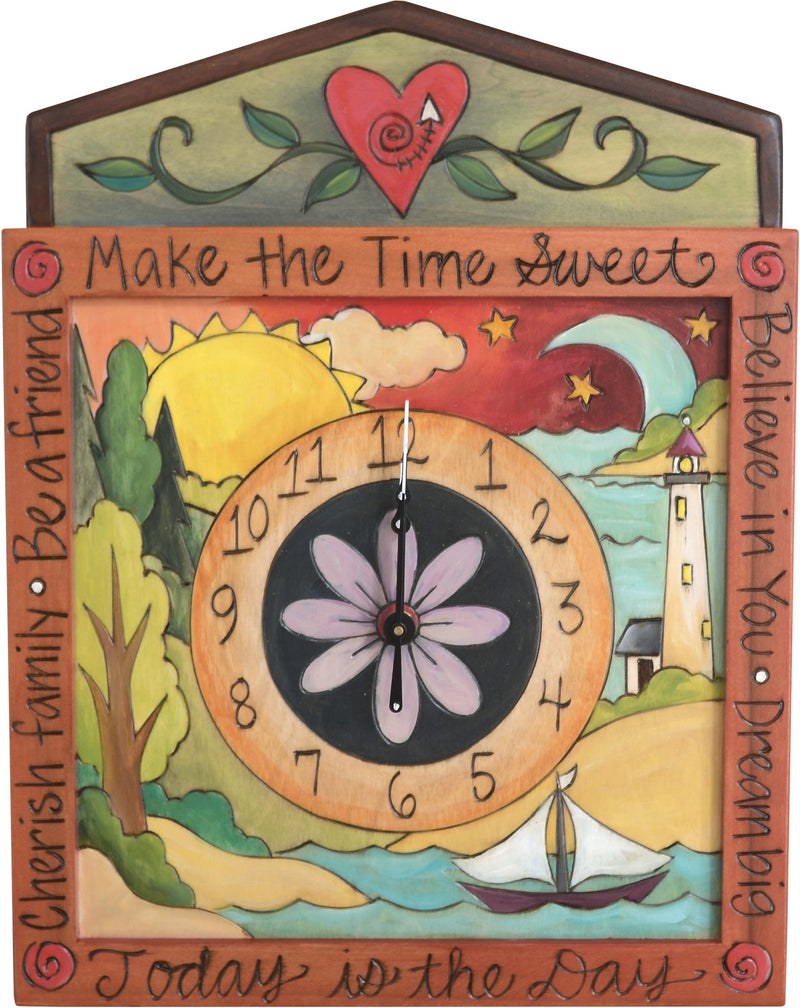 "Square Wall Clock –  ""Make the Time Sweet"" coastal landscape wall clock with sun and moon motif"