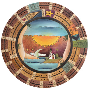 "20"" Cribbage Lazy Susan –  A seascape with a lighthouse overlooking the coast"