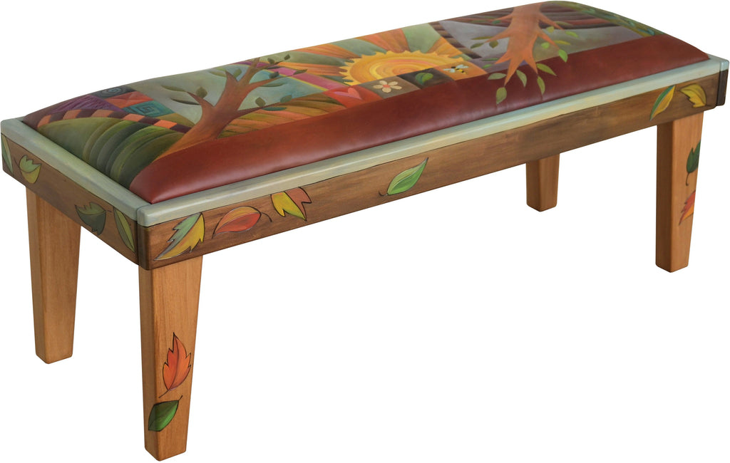 Sticks handmade 4' bench with leather and tree of life motif