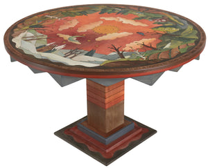 Sticks handmade dining table with elegant four seasons landscape