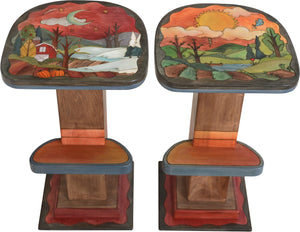 Swiveling Stool Set –  Playful stool set with four seasons landscape motifs