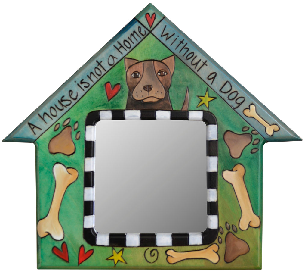 "House Shaped Mirror –  ""A House is not a Home without a Dog"" house-shaped mirror with dogs motif"