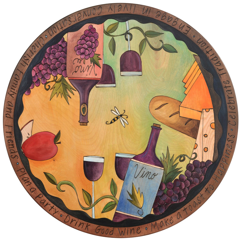 "Sticks Handmade 28""D lazy susan with wine and cheese theme"