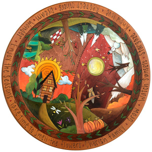 "Sticks Handmade 20""D lazy susan with a four seasons landscape and log cabin"