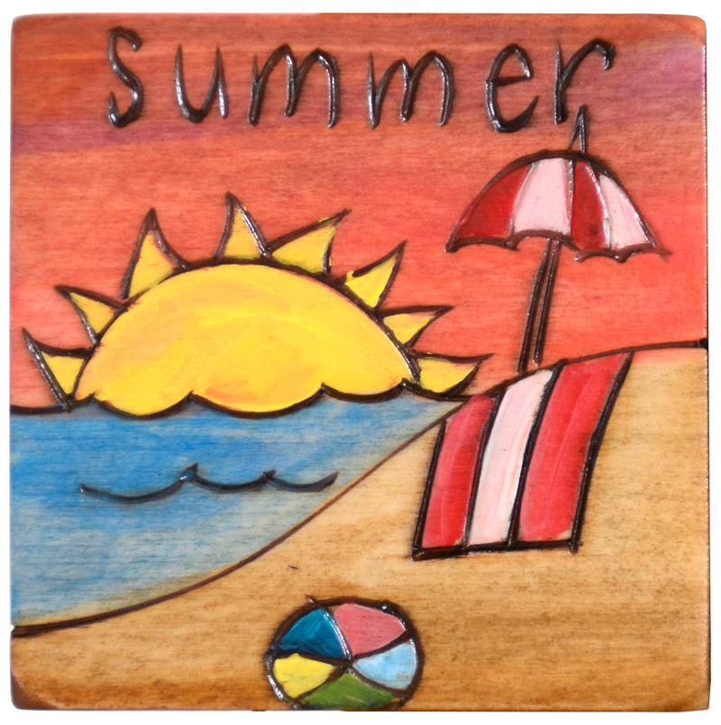 Set of seasonal scene and icon magnets to mark the changing seasons on your large Sticks calendar, summer beach magnet