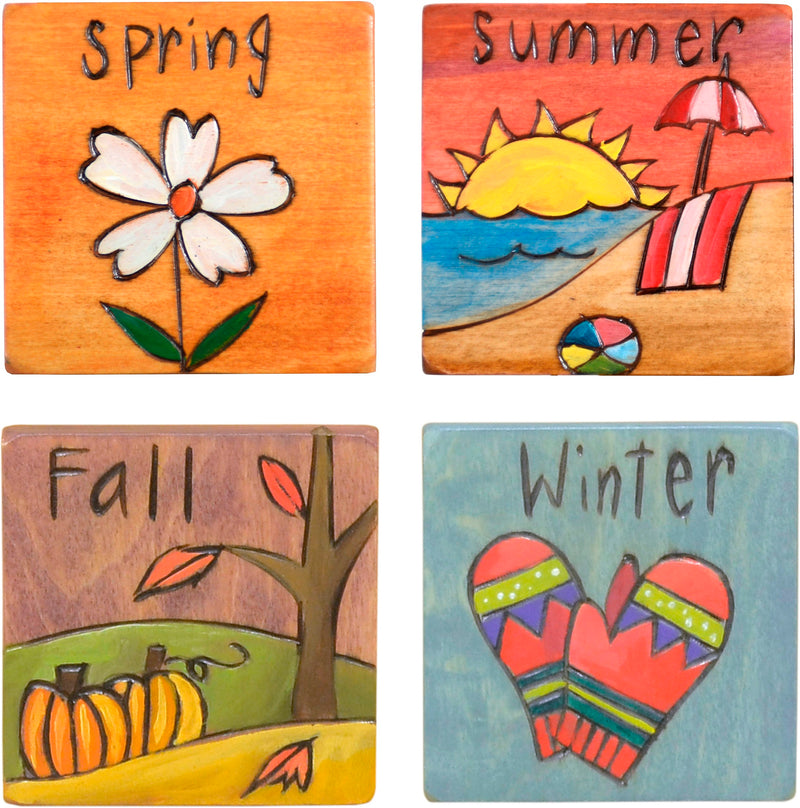Set of seasonal scene and icon magnets to mark the changing seasons on your large Sticks calendar, set of four seasons