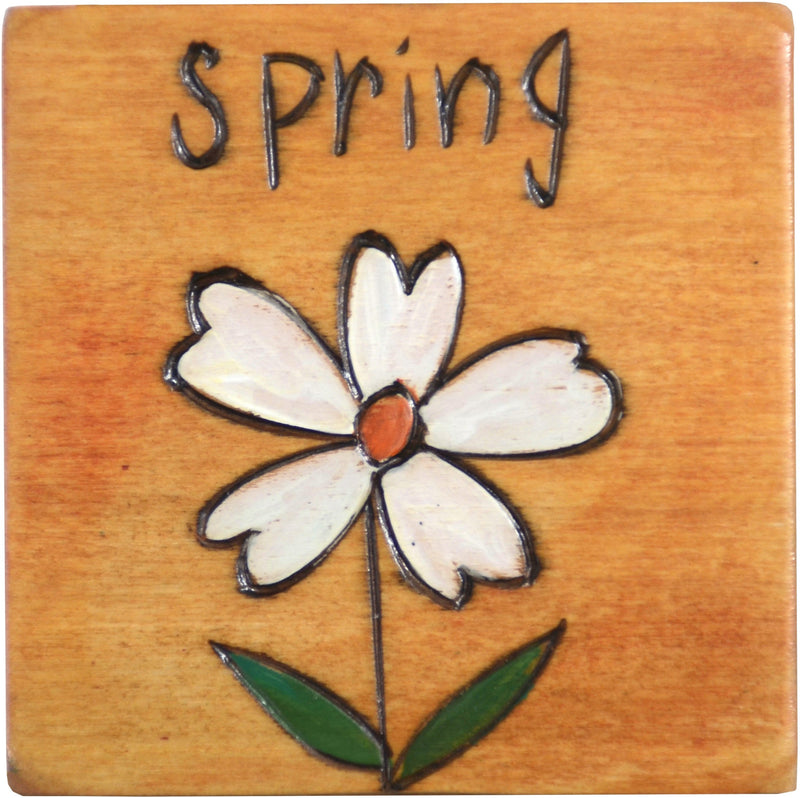 "Large Perpetual Calendar Magnet –  ""Spring"" perpetual calendar magnet with a pretty white flower"