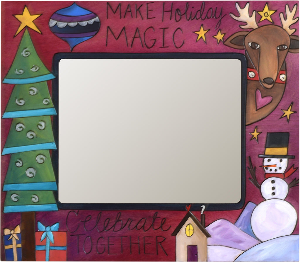 "8""x10"" Frame –  ""Make Holiday Magic"" frame with smiley snowman, Christmas tree and reindeer motif"