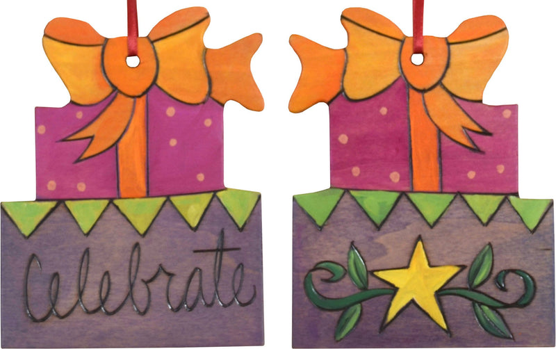 "Present Ornament –  Bright and playful gifts ornament, ""Celebrate"""