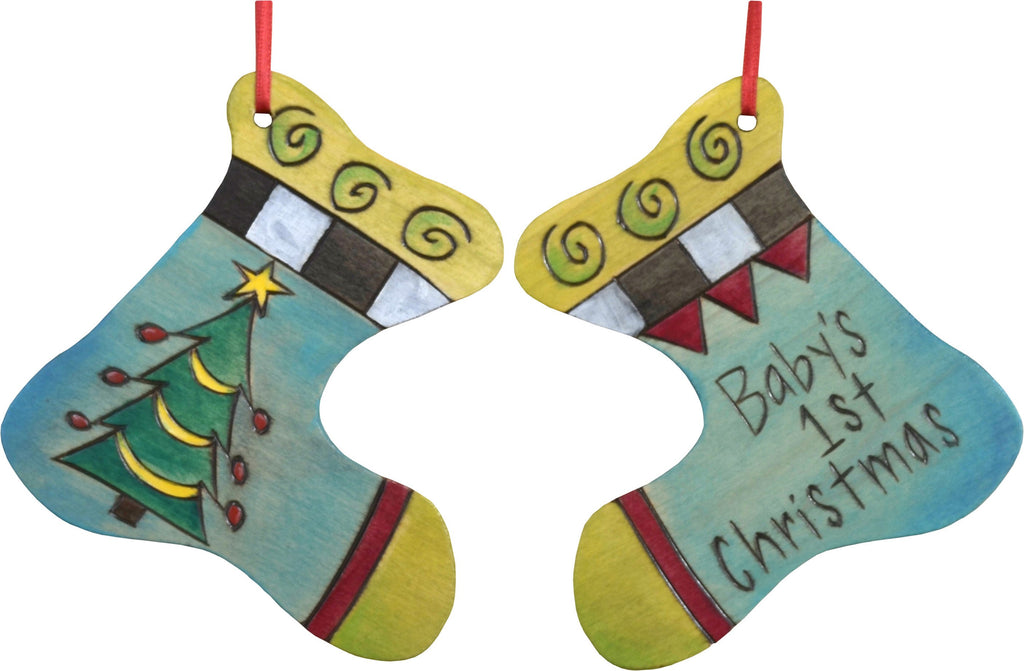 "Stocking Ornament –  ""Baby's 1st Christmas"" stocking ornament with pretty Christmas tree motif"