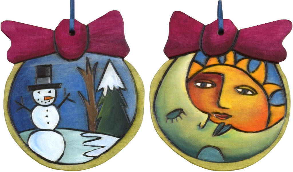 Ball Ornament –  Snowman ball ornament with sun/moon and snowman motif