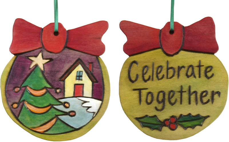 Ball Ornament –  Celebrate Together ball ornament with christmas tree and snowy home motif
