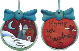 Ball Ornament –  Home for Christmas ball ornament with snowy barn and moon motif