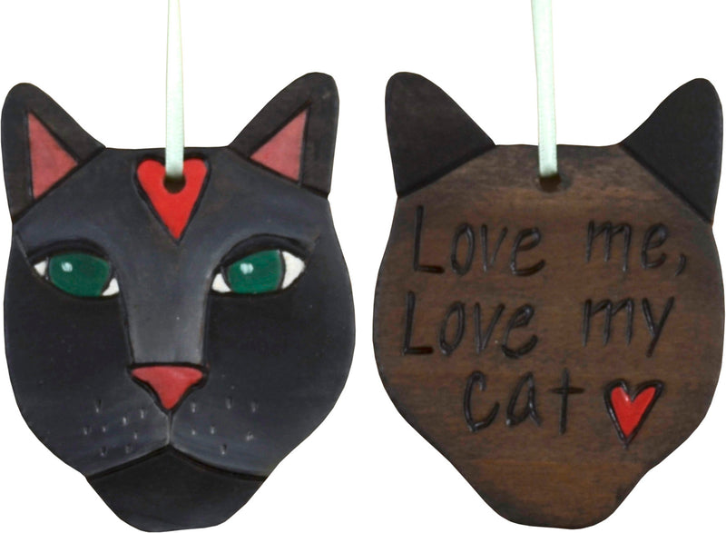 """Love me love my cat"" black cat ornament design"