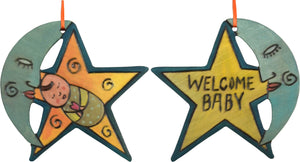 "Moon and Star Ornament –  ""Welcome Baby"" moon and star ornament with mister moon and sleepy baby motif"