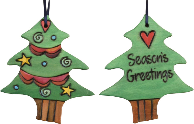 "Christmas Tree Ornament –  ""Season's Greetings"" Christmas tree ornament with light green Christmas tree motif"