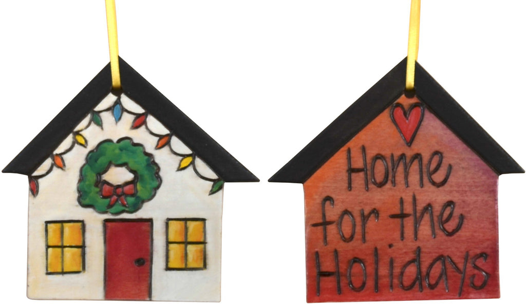 "House Ornament –  ""Home for the Holidays"" house ornament with wreath and home motif"
