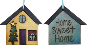 "House Ornament –  ""Home Sweet Home"" house ornament with Christmas tree and home motif"