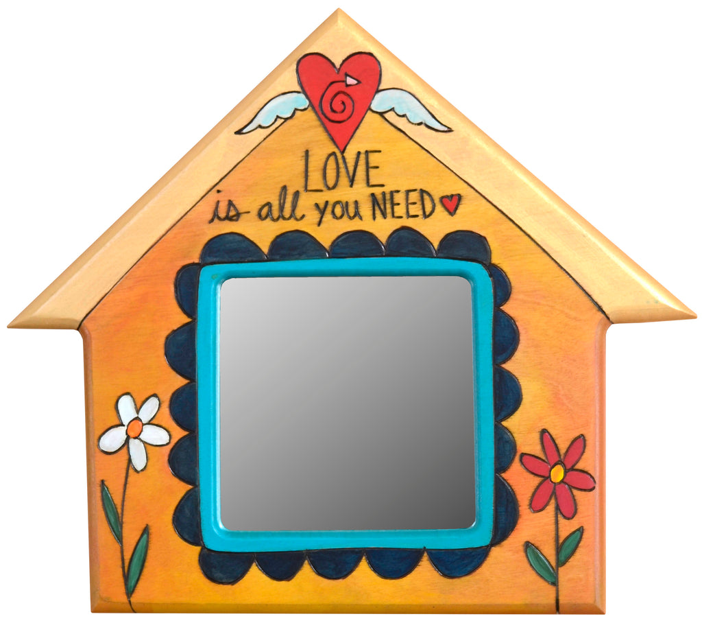 "House Shaped Mirror –  ""Love is all you need"" house-shaped mirror with flowers and a floating heart with wings"