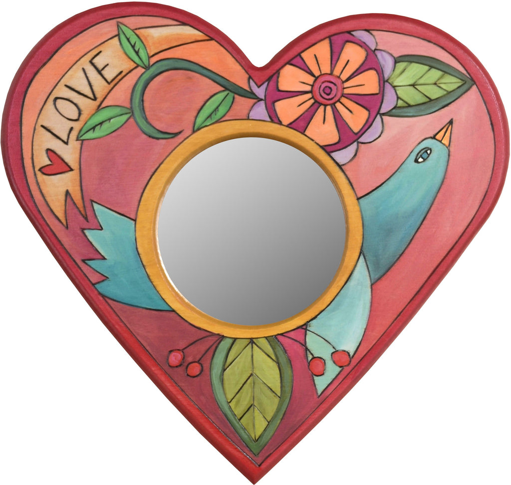 "Heart Shaped Mirror –  ""Love"" heart-shaped mirror with flower and bird motif"