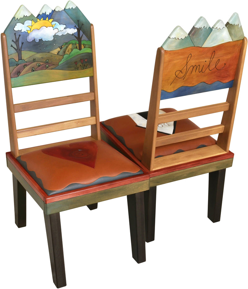 Sticks Chair Set with Leather Seats –  Rustic chair set with rolling four seasons mountain landscapes