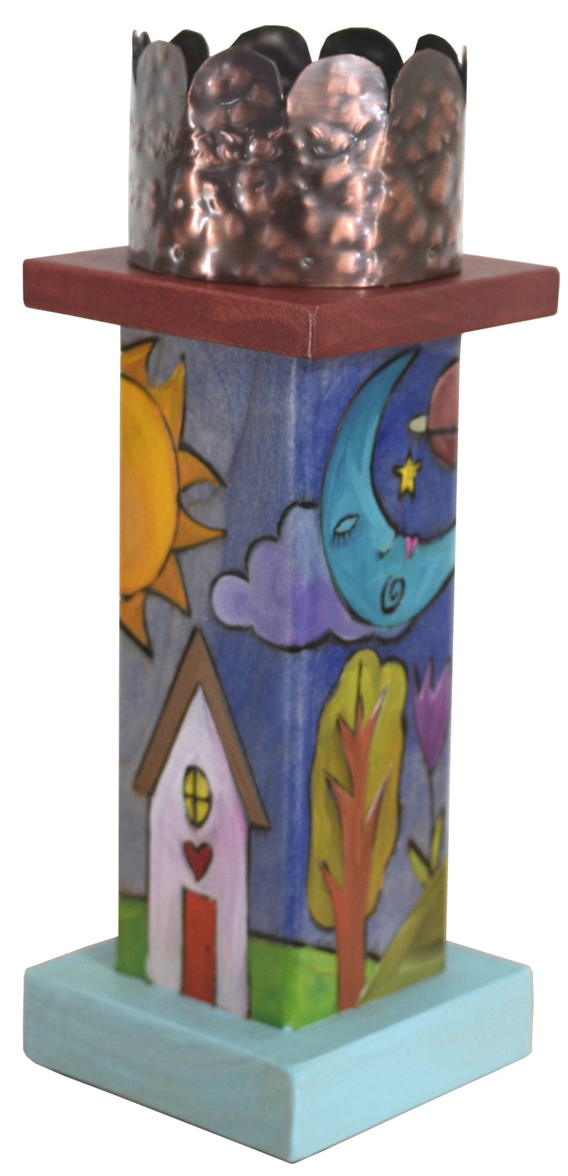 Small Pillar Candle Holder –  Lovely candle holder with sun and moon motif and fun mountain landscape